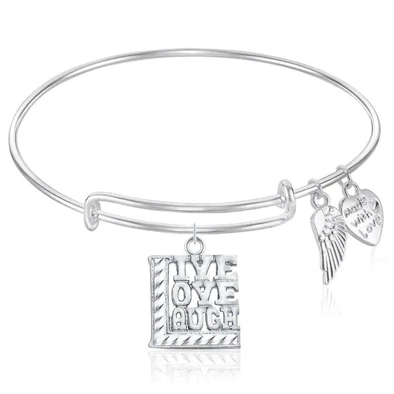 LIVE LOVE LAUGH Expandable Wire Bangle Bracelet Gift Boxed