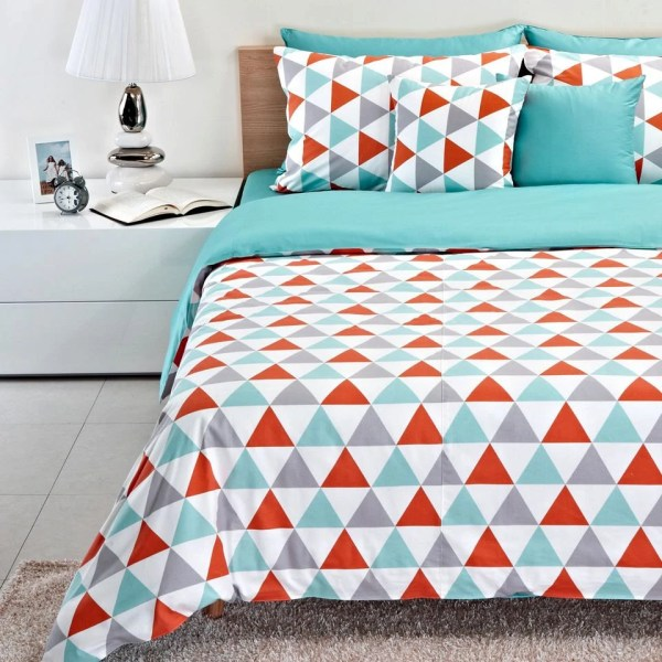 Tiffany Blue & Coral Triangle Pattern Baby Crib Duvet