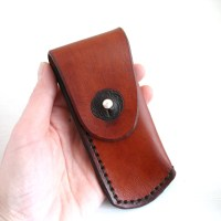 Pocket Knife Holder. Light brown leather pocket knife holder