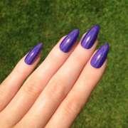 holographic purple stiletto nails