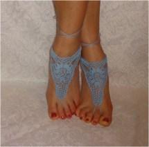 Crochet Barefoot Sandals Foot Jewelry Light Blue