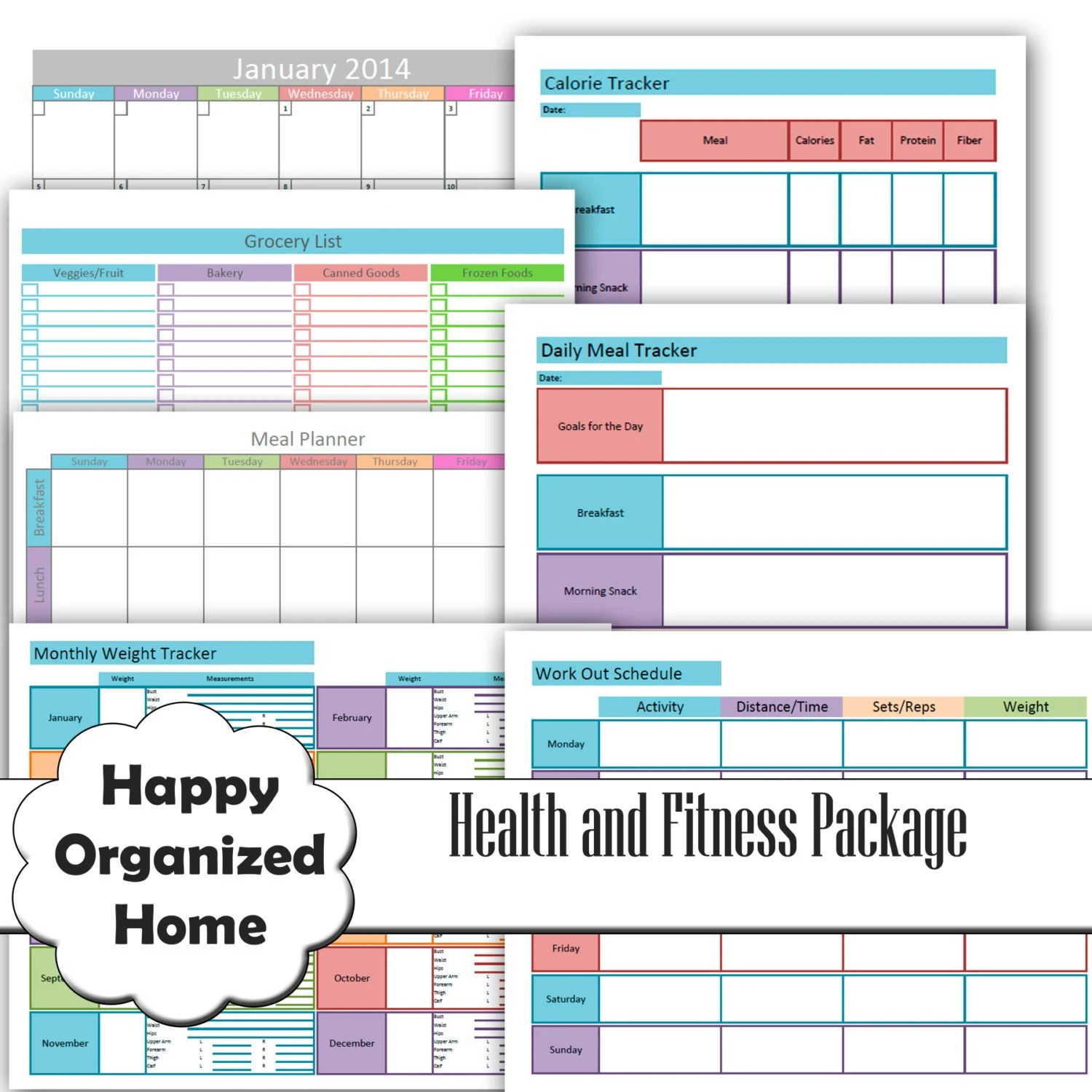 Health And Fitness Printables Set By Happyorganizedhome On
