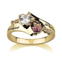 Promise Ring Engraved Couples Birthstone Ring by