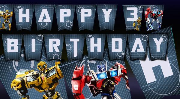 Transformer Birthday Banner DIY Download Birthday Banner