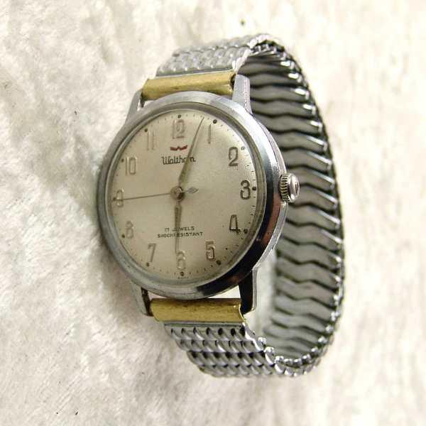 Vintage Waltham Mens 17 Jewel Wrist Watch Stretch Band Runs