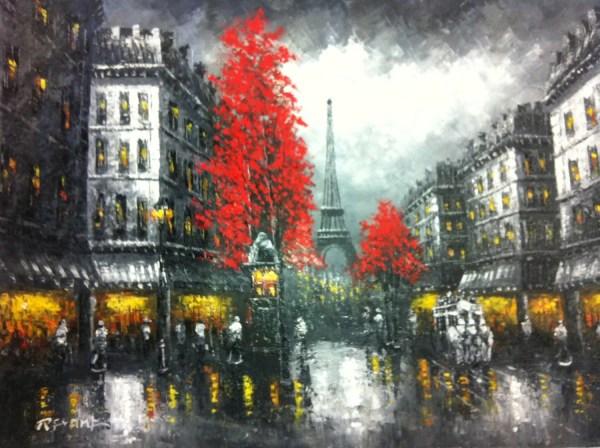 Paris Rain Original Oil Painting 36 X 48
