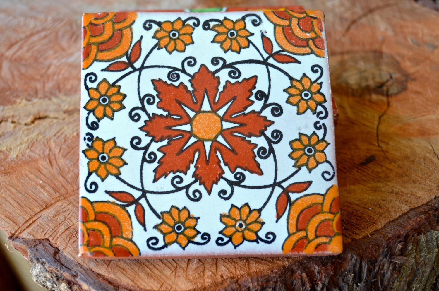 25 Mexican Talavera TilesHand painted 4 X 4