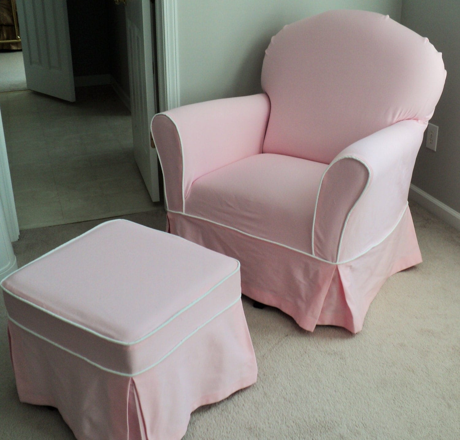 slipcover for glider rocking chair metal folding chairs bulk custom nursery and ottoman set