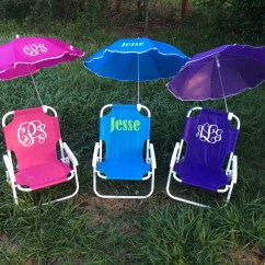 Beach Chairs For Toddlers Fox Chair Accessories Monogrammed Kids With Umbrella By