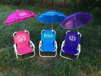 Monogrammed Kids beach chair with umbrella by ...