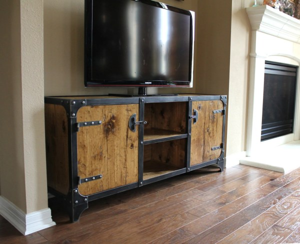 Industrial Media Cabinet Tv Stand Console