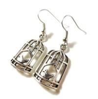 Birdcage Charm Earrings Silver Bird Cage Earrings Dangle