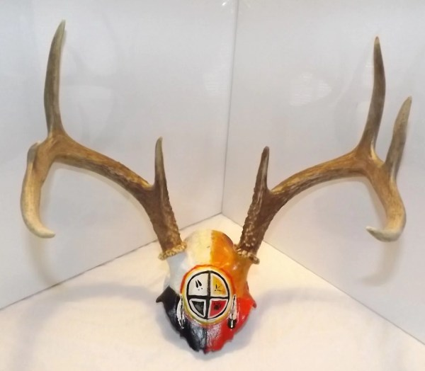 Native American Art Painted Deer Skull Crown Medicinewheelart