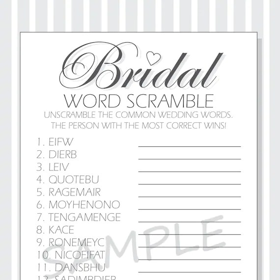 DIY Bridal Word Scramble Printable Cards for a Bridal Shower