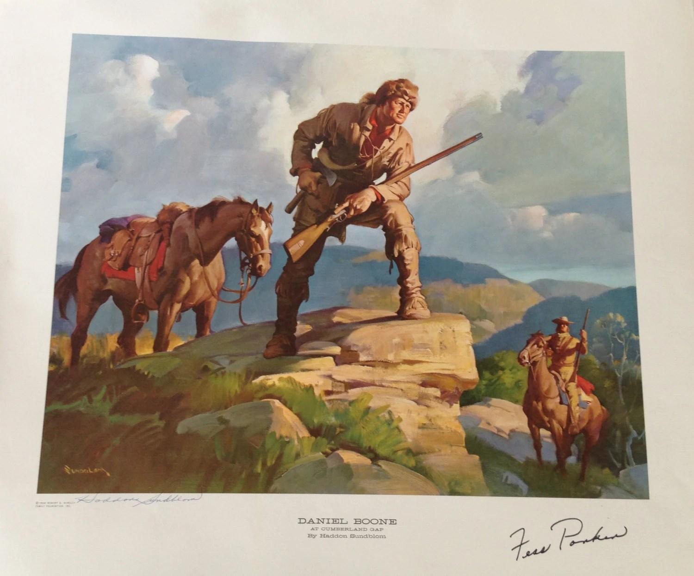 Signed Print Daniel Boone At Cumberland Gap Haddon