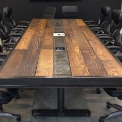 Conference Tables And Chairs Diy Roman Chair Industrial Vintage Room Table W Raw Steel Body