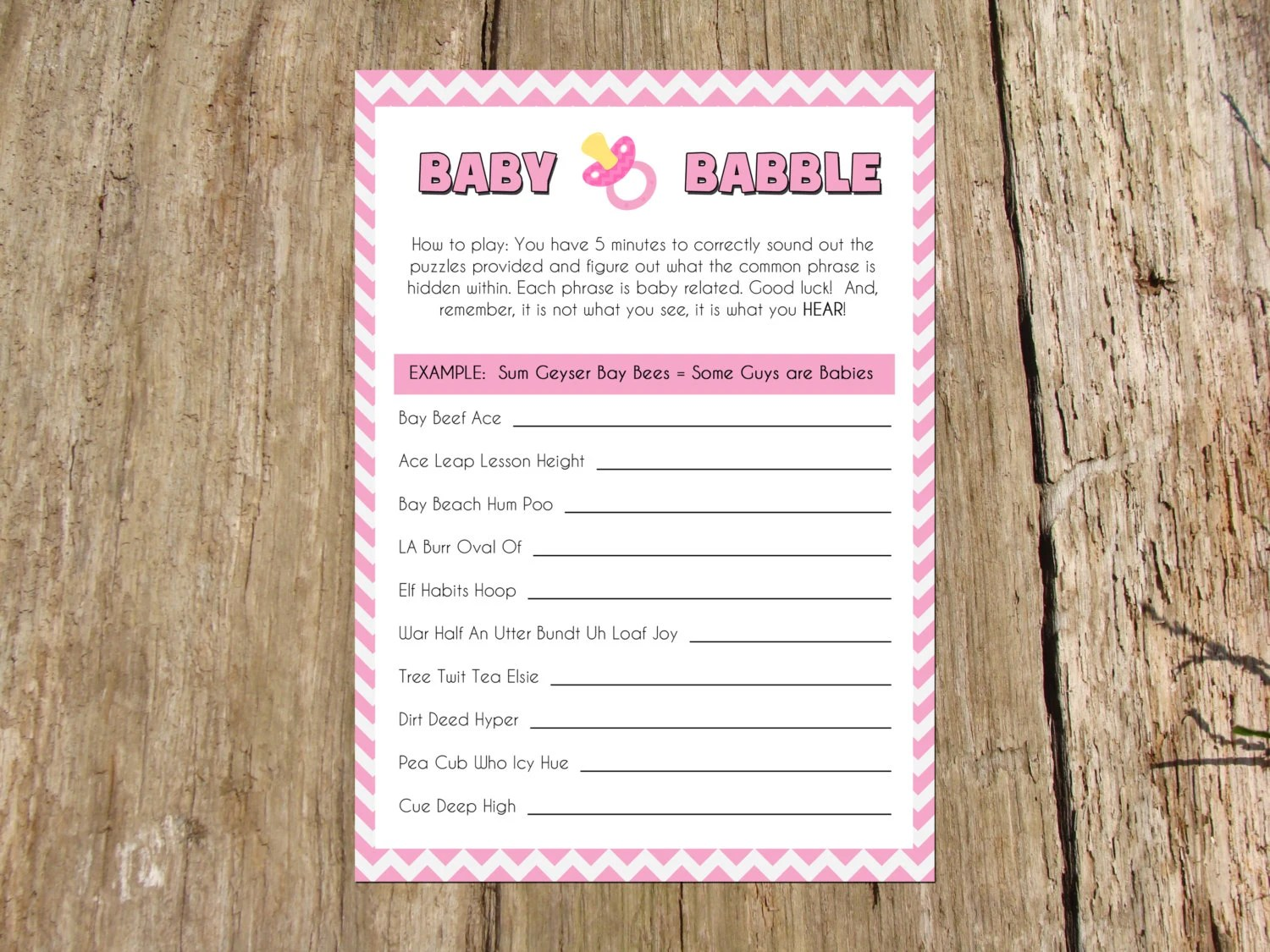 Baby Shower Mad Gab Game Instant Download Printable