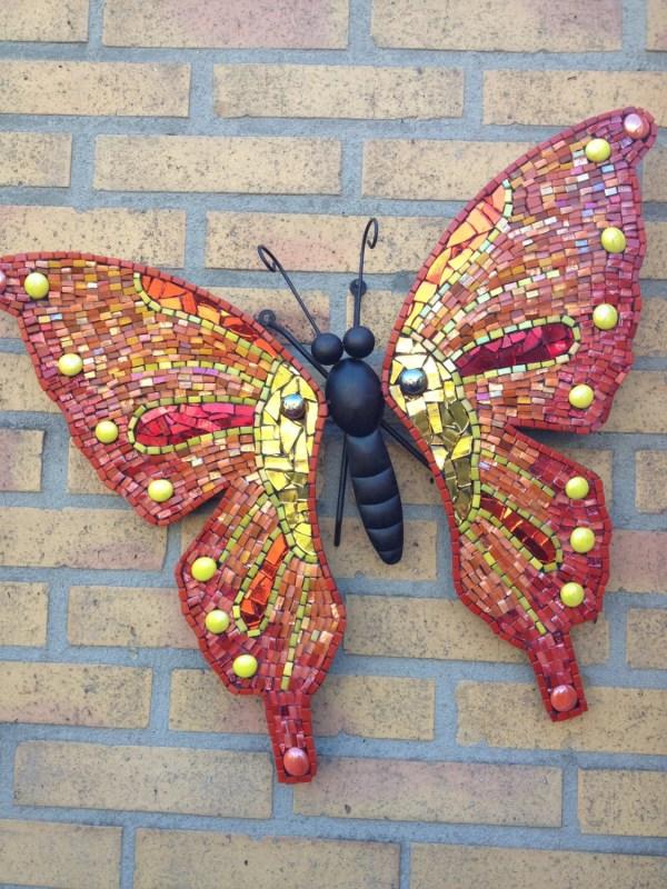 Butterfly Wall Art Glass Mosaic Outdoor Metal Red