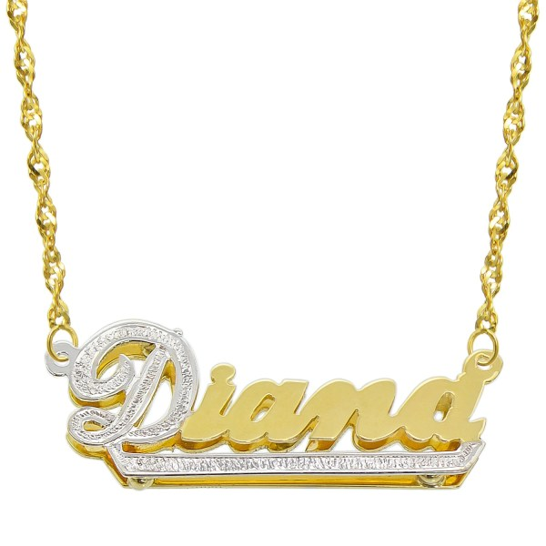 14k Two Tone Gold Personalized Double Plate 3d Necklace