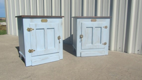 Items Similar To Refinished White Clad Ice Box End Tables