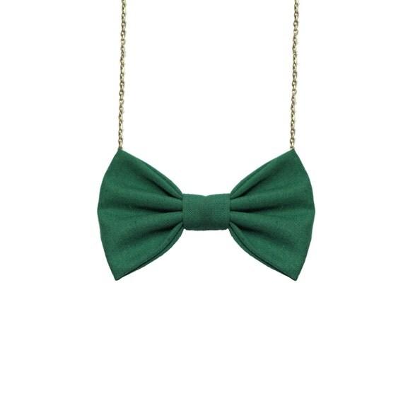 Hunter Green Bow Tie collana PreTied BowTie per donne e
