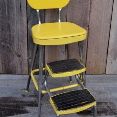 Retro Chair Step Stool How To Make Covers Diy Jaune Ames Maid Escabeau Chaise Vintage Cuisine Tabouret