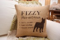 Burlap Pillow Personalized Dog Pillow with by TheSunnyHunnyBee