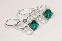 Emerald Earrings Wire Wrapped Jewelry by JessicaLuuJewelry