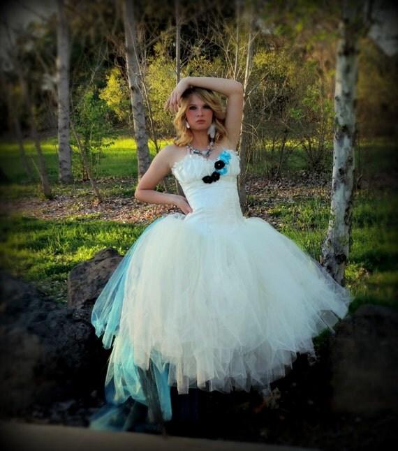 Adult tutu dress corset tutu dress white ivory turquoise
