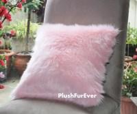 17x17 Pink Luxury Shaggy Fur Pillows Faux Fake Fur Pillow ...