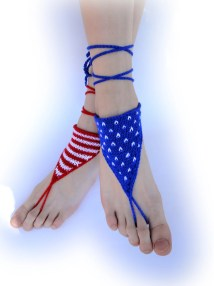 Knitted Patriotic Barefoot Sandals Foot Jewelry 4th Of