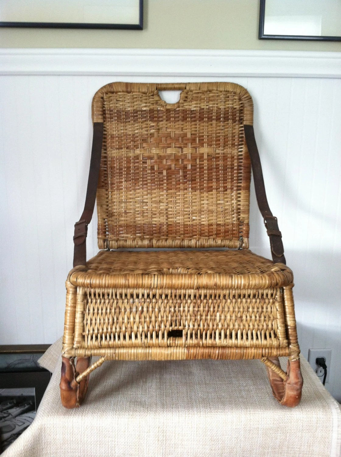 repair rattan chair seat ergonomic head support canoe vintage wicker portable folds up storage leather