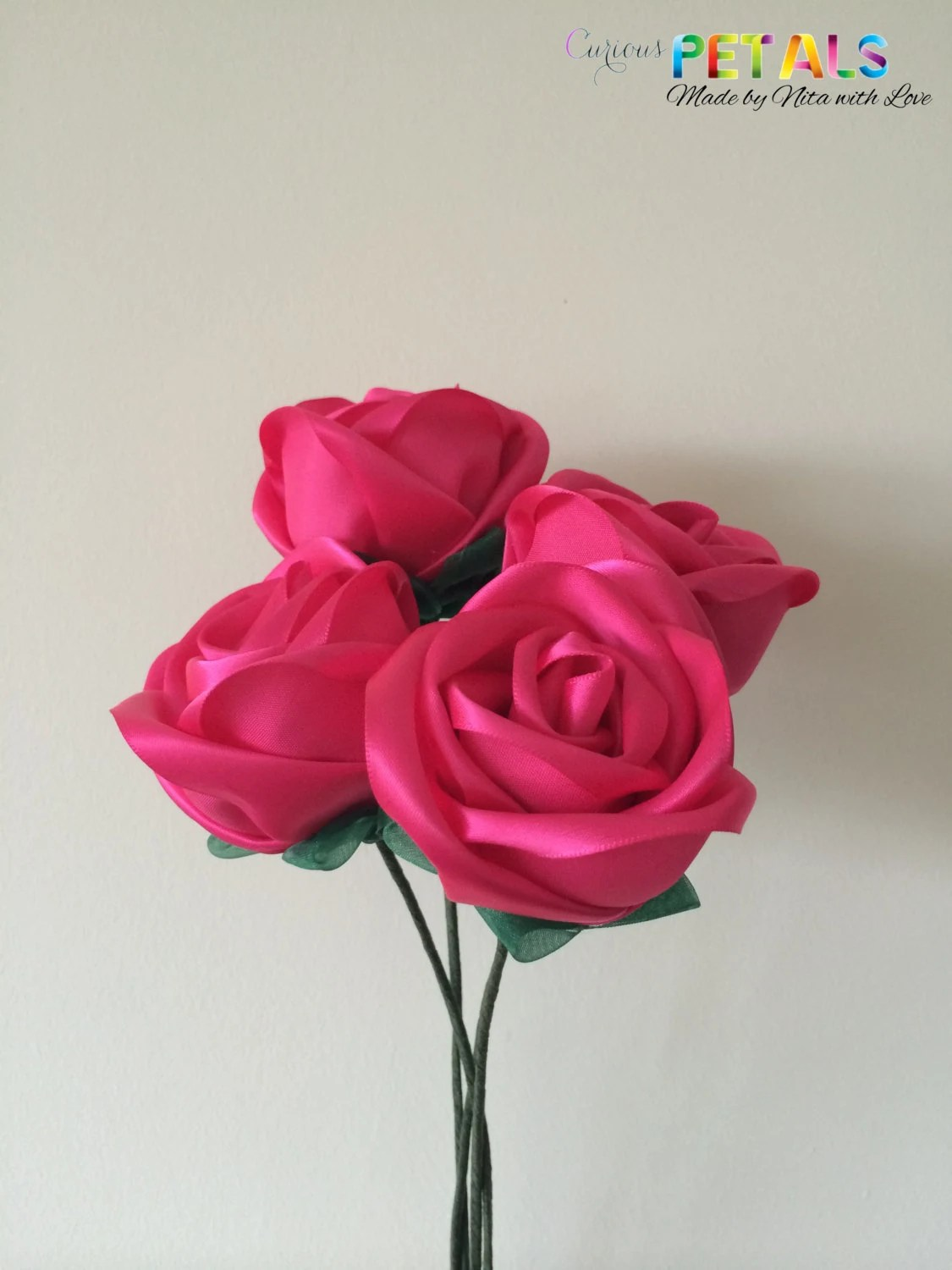 Shocking Pink Ribbon Rose...
