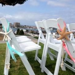Beach Wedding Chair Decoration Ideas Desk And With Storage Bin Starfish Satin Sheer
