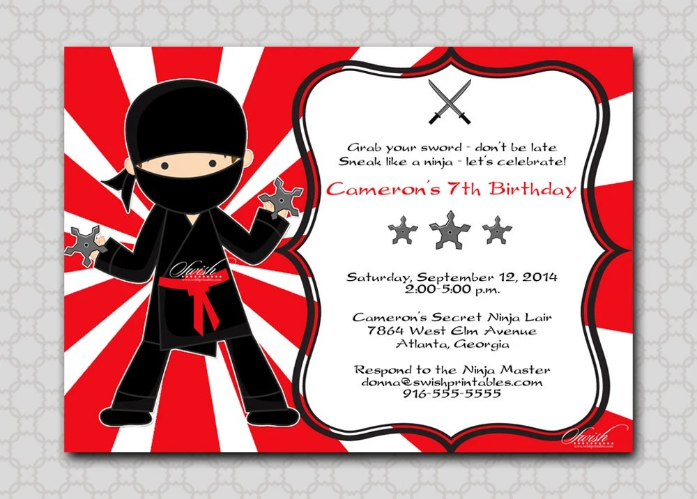 Ninja Birthday Invitation Printable Party By SwishPrintables
