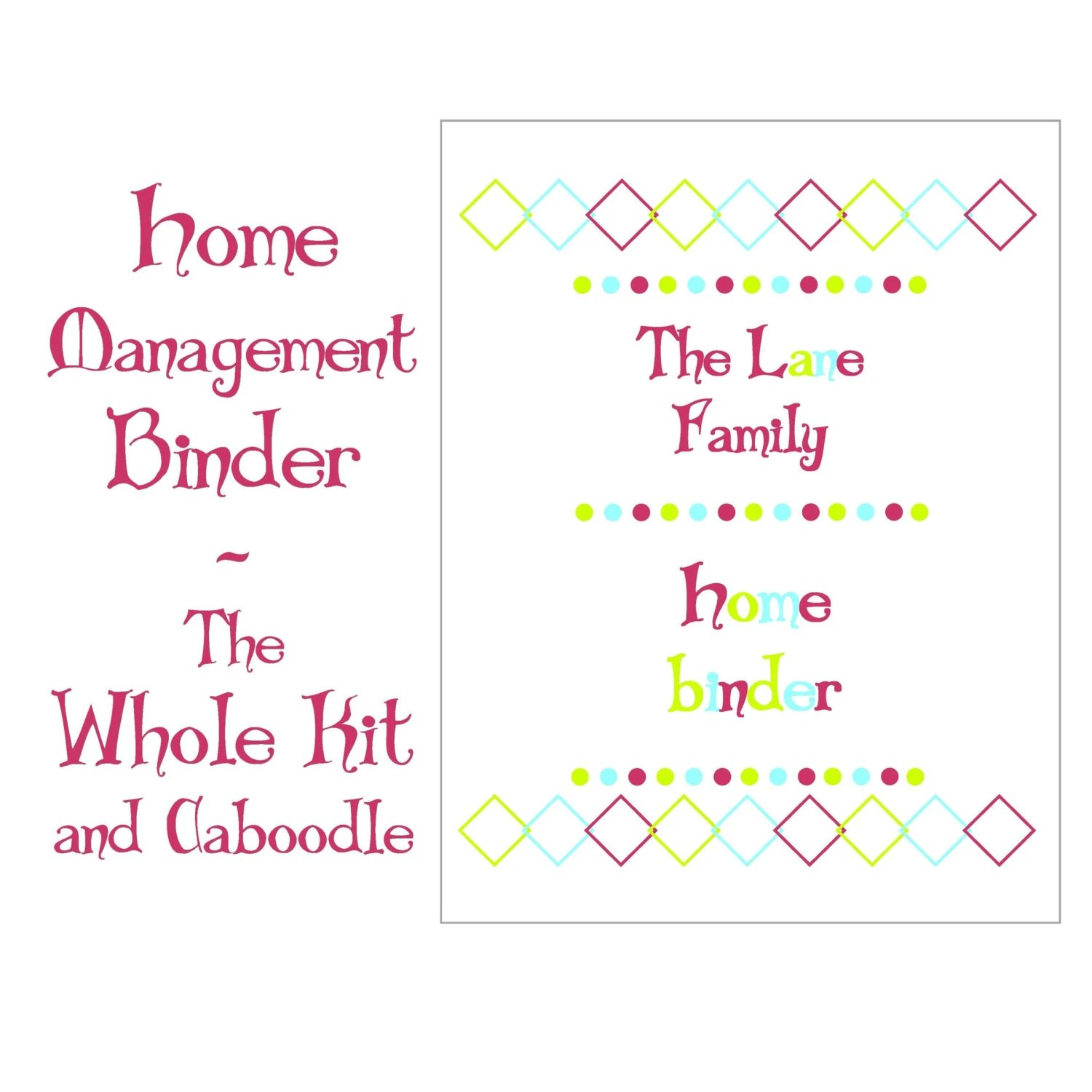 Home Management Printable Binder The Whole Kit And Caboodle