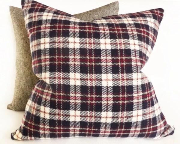 Wool Plaid Pillow Blue Red Cream Tartan Pillows 20x20