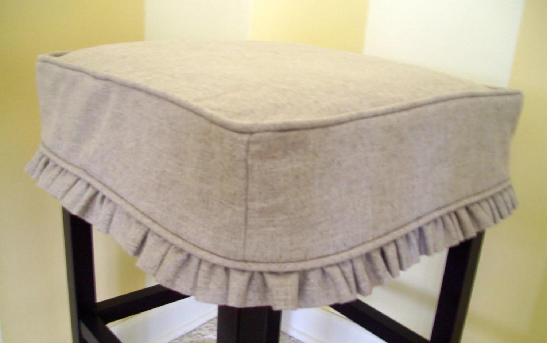 bar stool chair rung protectors ikea desk jules square cover barstool slipcover tan linen ruffled