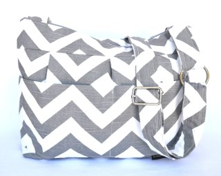 Slouch Bag / Messenger Purse / Upholstery weight Decorator fabrics /  Gray Chevron /  cross body strap / zipper