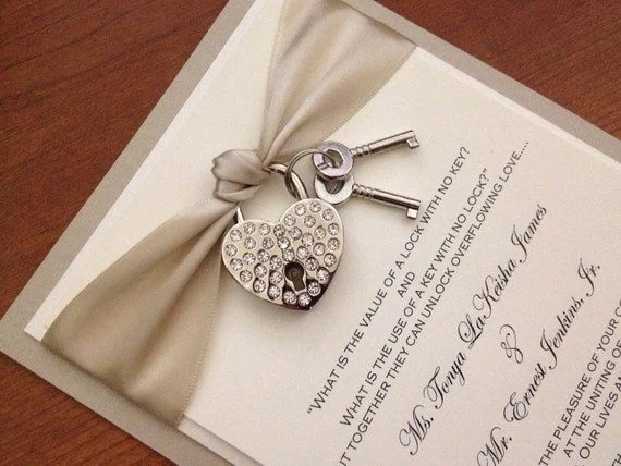 Key to My Heart wedding invitation with heart by