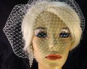 "Birdcage Veil, 9"" Birdcage Blusher Veil on Comb, Bridal Veil, Wedding Veil, Ivory, White, Champagne, Black"