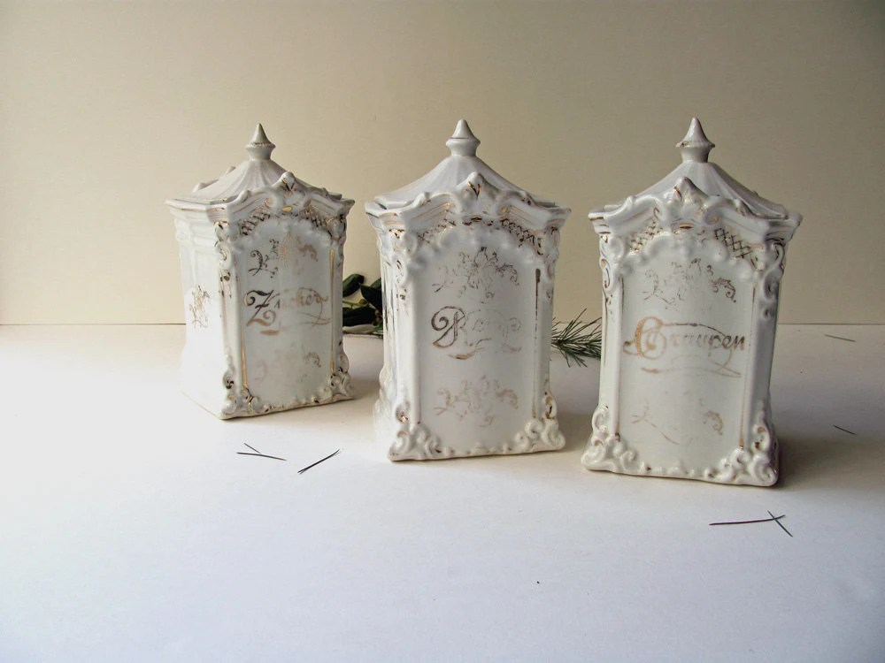 Vintage German Canisters Set 3 Porcelain Ironstone White China