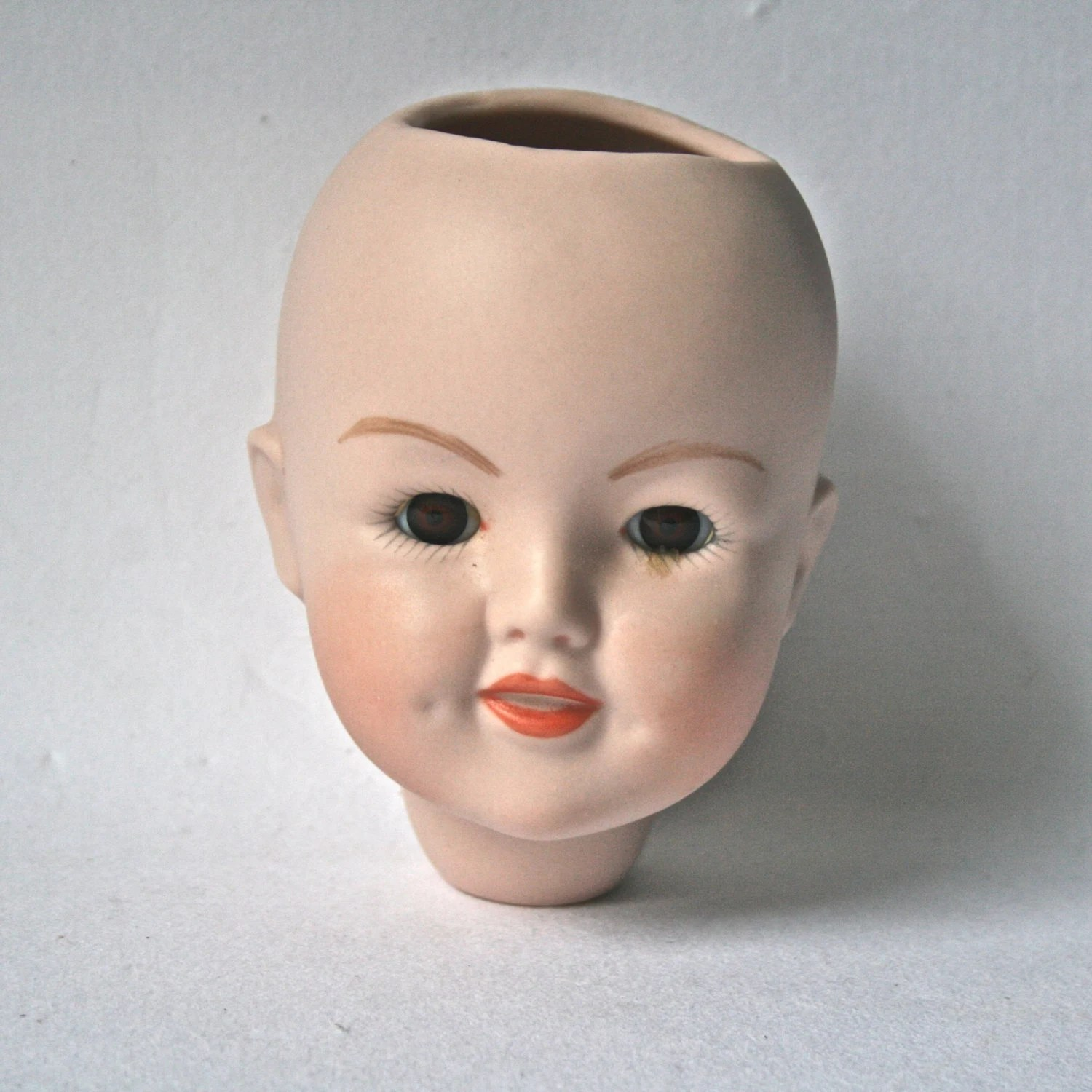 Beautiful Brown Eyed Porcelain Doll Head for by ReminiscencePapers