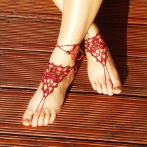 Crochet Maroon Barefoot Sandals Nude Shoes Foot Jewelry