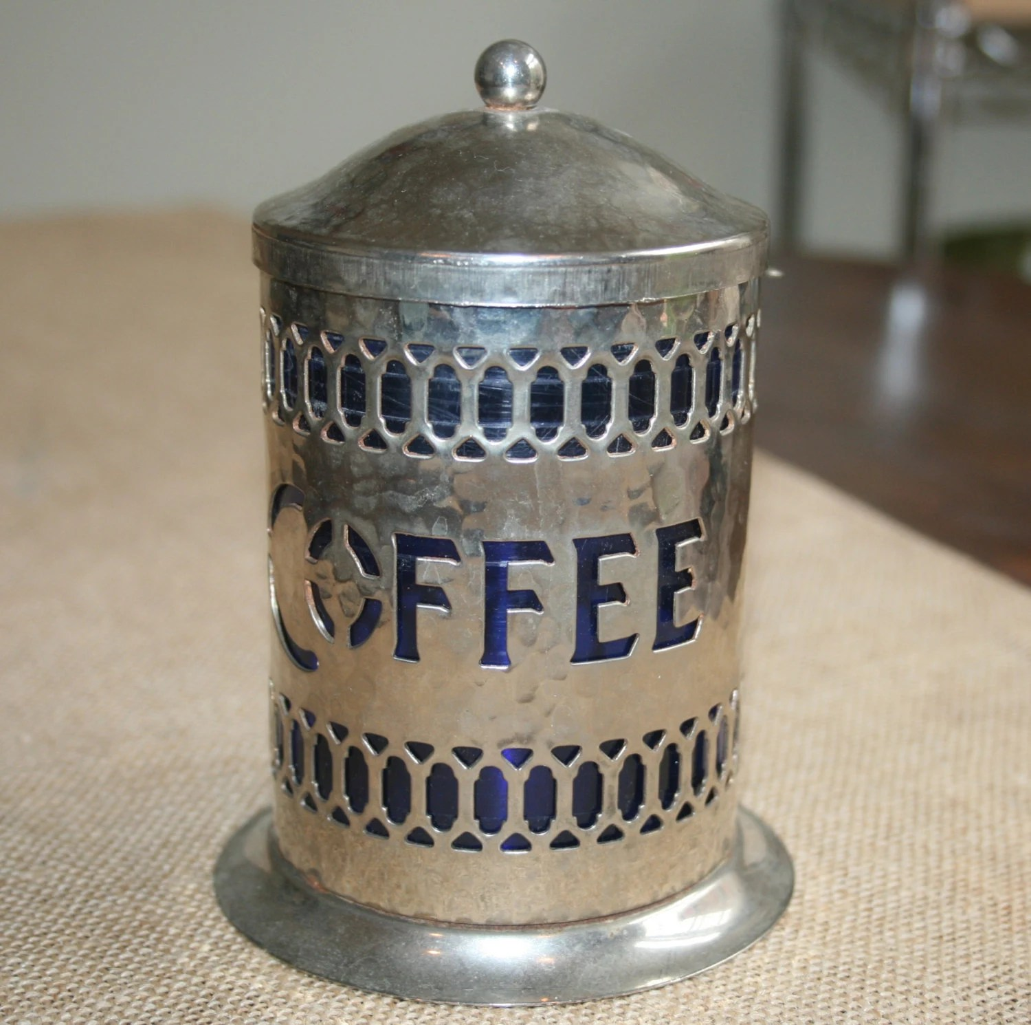 Vintage English Coffee Canister Silver Hammered Metal Blue