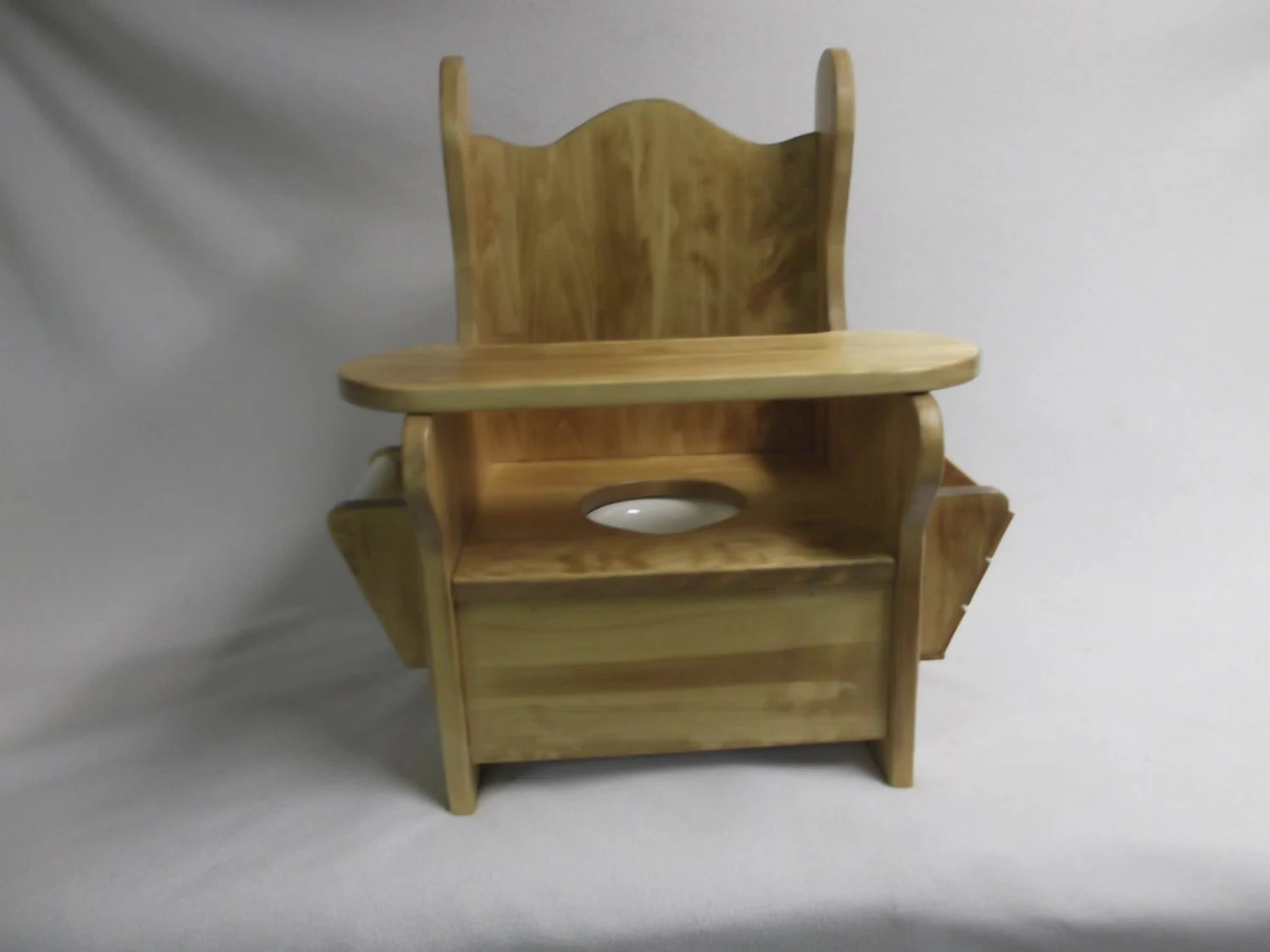 wooden potty training chair black leather modern large w tray tp holder and book by wonderwoodshop