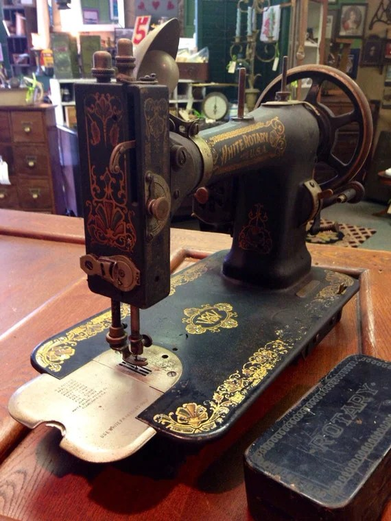 Antique Victorian White Rotary Steampunk Cast Iron Treadle