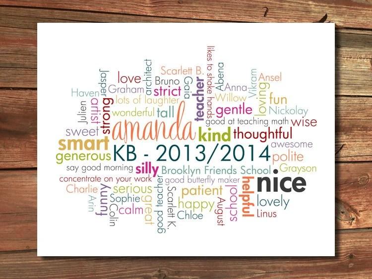 Teacher Gift From Class Custom Word Cloud Poster Design
