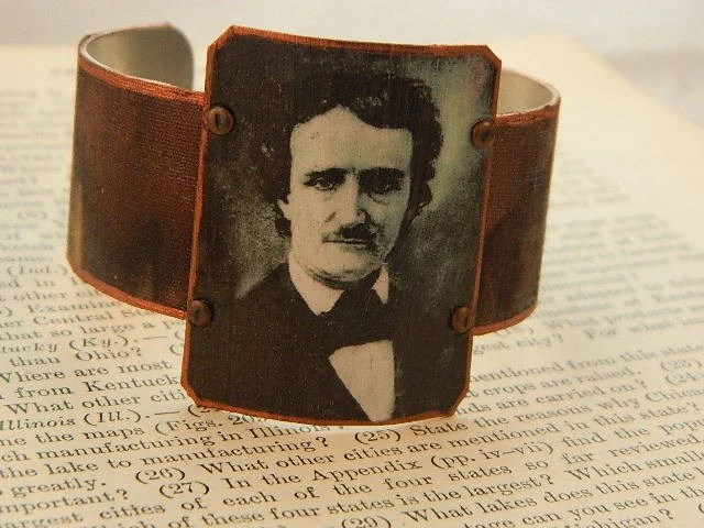 Items similar to Edgar Allan Poe Bracelet  Exquisite Beauty  Bright Pink Quote Brass Cuff on