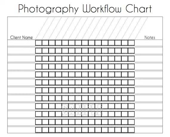 Photography Workflow Charts Set EDITABLE Printables